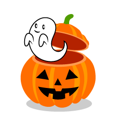 Cute Ghost in Halloween Pumpkin