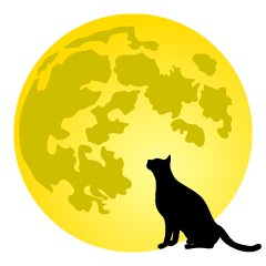 Black Cat Silhouette and Moon