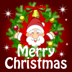 Santa and Wreath Merry Christmas Greeting