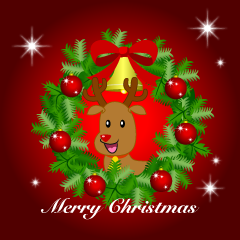 Reindeer Wreath Merry Christmas Greeting