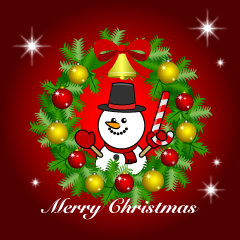 Snowman Wreath Merry Christmas Greeting