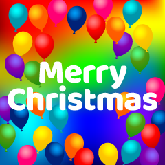 Colorful Balloons Merry Christmas Greeting