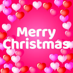 Pink Hearts Merry Christmas Greeting