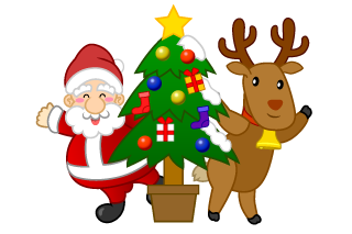 Santa and Reindeer and Christmas Tree