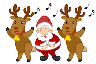 Singing Santa and Reindeer
