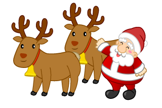 Stroking Santa and Reindeer