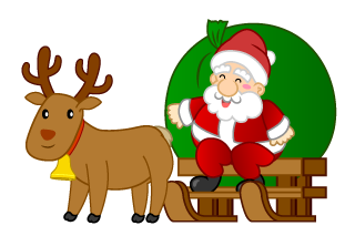 Santa on Sled and Reindeer