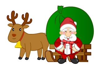Santa with Present and Reindeer