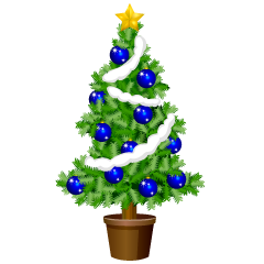 Christmas Tree with Blue Ornament