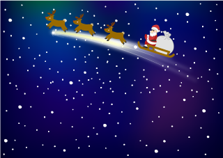Flying Santa Christmas Wallpaper