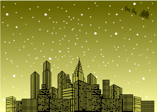 Golden City Christmas Wallpaper