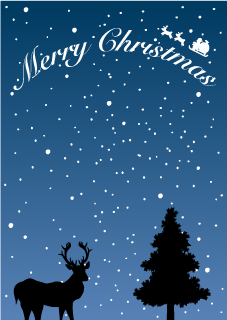 Reindeer Silhouette Christmas Background