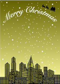 Golden City Christmas Background
