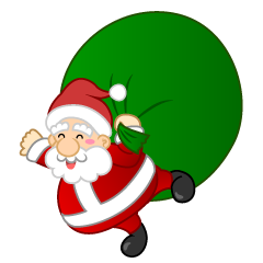 Flying Santa with Gift Bag Clipart