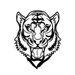 Barking Tiger Face Black and White