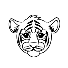Child Tiger Face Black and White