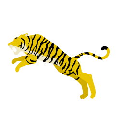 Jumping Tiger Yellow Silhouette