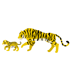 Tiger Parent and Child Yellow Silhouette