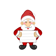 Santa with Board Clipart