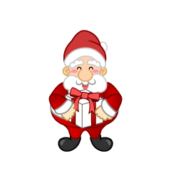 Santa with Gift Box Clipart
