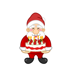 Santa with Cake Clipart