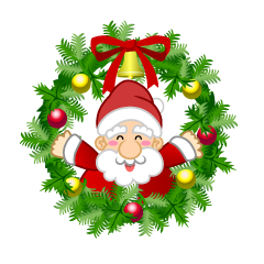 Santa and Christmas Wreath Clipart