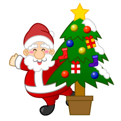 Santa and Christmas Tree Clipart