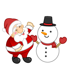Snowman and Santa Clipart