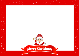 Christmas border of Santa and ribbon
