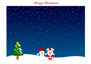 Snowman and Rabbit Christmas Background