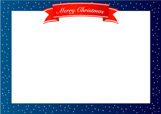 Snowy Night and Merry Christmas ribbon Border