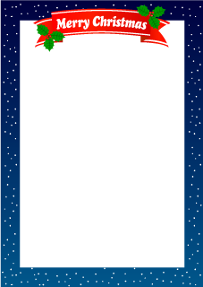 Merry Christmas Ribbon and Snow Border