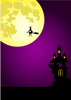 Witch flying at full moon night Background