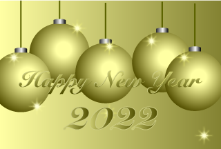 Gold Christmas Ball New Year Card