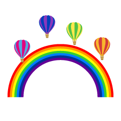Rainbow and Hot Air Balloon Clipart