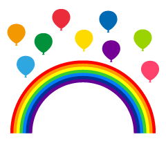Rainbow and Colorful Balloons Clipart