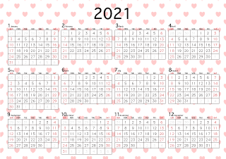 2021 Calendar Heart Background