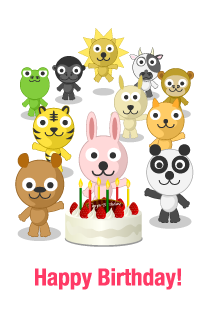 Cute animals Happy Birthday