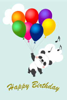 Happy birthday of a panda flying in the balloon