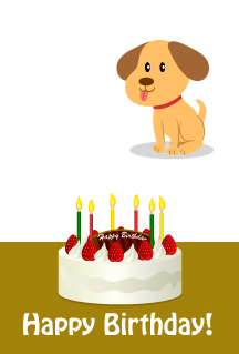Birthday cake and cute dog Happy birthday