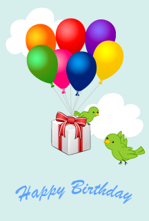 Balloons and birds' birthday gifts