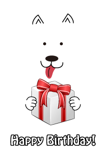 White dog gifts for birthday card