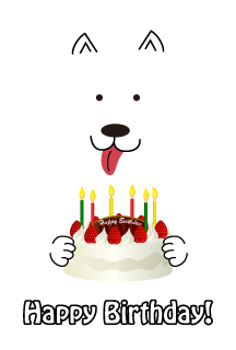 Happy birthday cake and white dog
