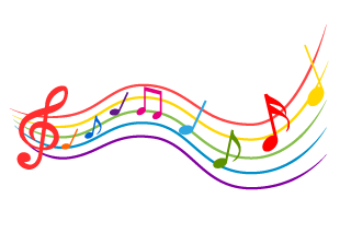 Trumpet and Music Tone Waving Clipart Free PNG Image|Illustoon