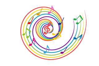 Colorful Music Score with Whirlpool