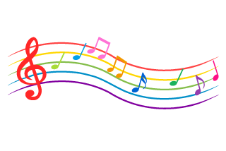 Waving Colorful Music Score