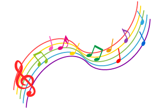 Rising Colorful Music Notes