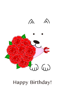 Dog with a bouquet of roses Birthday card