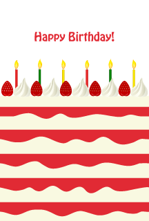 Strawberry cake birthday card