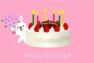 Happy birthday of rabbit and hall cake